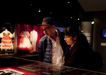 Members of Jean Paul Gaultier's entourage viewing The Strictly Ballroom Story exhibition at the Powerhouse Museum.