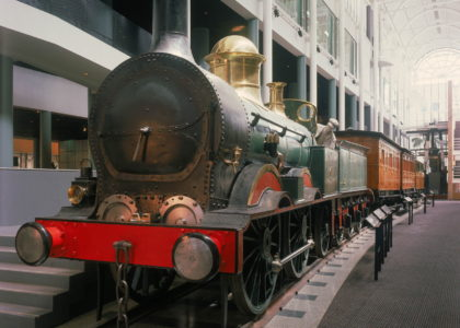 Photo of Locomotive No. 1 taken from the front so most of the carriages are visible