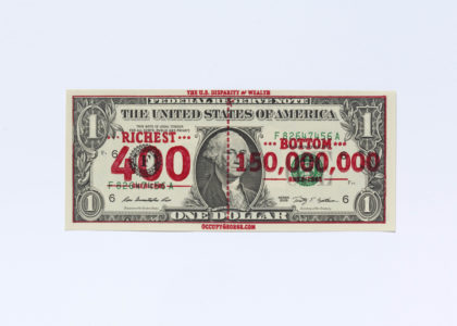 Occupy George overprinted dollar bill by Andy Dao and Ivan Cash, 2011, image courtesy of V&A London