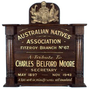Honour Board, Australian Natives Association, Victoria, date unknown, Museum Victoria collection, SH 880499
