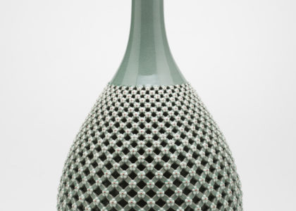 Celadon bottle, stoneware, designed and made by Yeung-an Jang, Icheon, Gyeonggi-do, South Korea, 2010