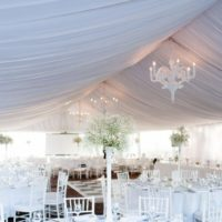 Interior view of the Sydney Observatory Marquee set up for a wedding.