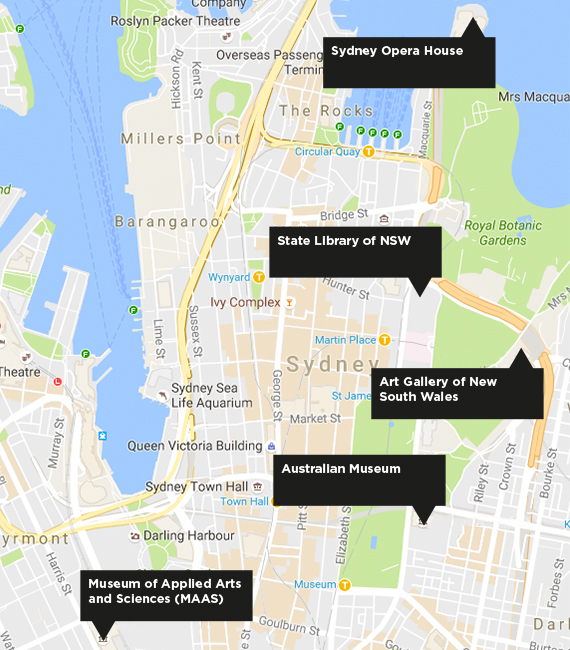 Map showing the locations of the following cultural institutions: Art Gallery of New South Wales; Australian Museum; State Library of New South Wales; Sydney Opera House. Click to enlarge.