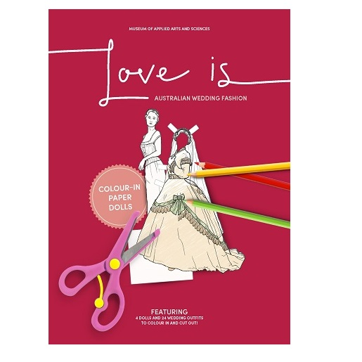 5b54bcc591 Love is … Australian Wedding Fashion  Colour-in paper dolls – Museum ...
