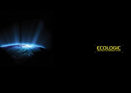 Sunrise on Earth as seen from space accompanied by EcoLogic logo