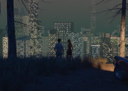 3D rendered image of a man and woman standing by a parked car at a lookout, facing the nighttime cityscape before them