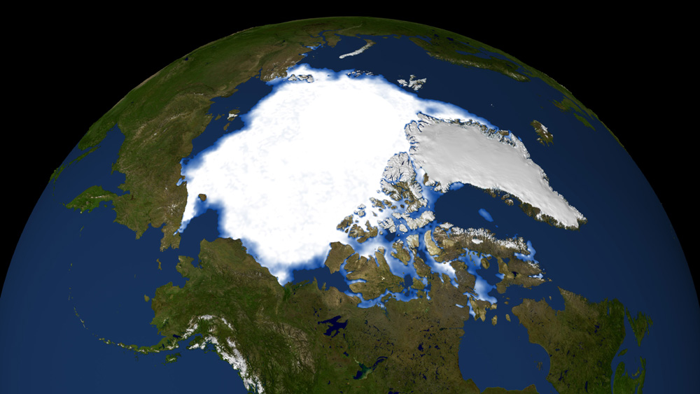 Polar ice cap as seen from space
