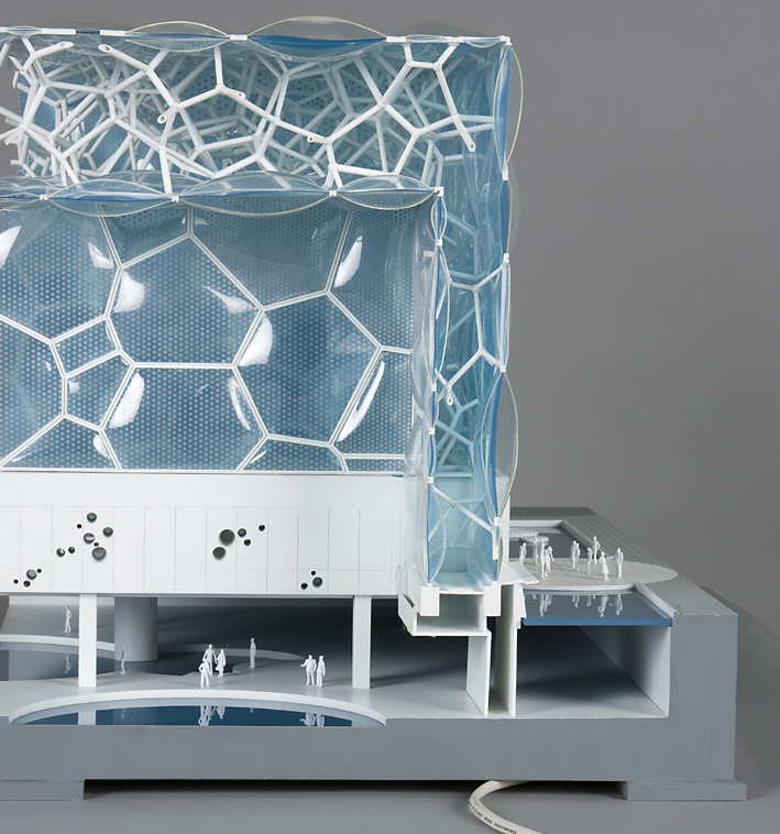 A cutaway section of a model of the Water Cube shows the wall and roof made of bubbles. Model gift of Arup, 2010 2010/35/1