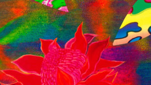 Step Into Paradise splash page with waratah and opal motifs