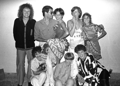 A photo of a group of friends including Jenny Kee and Linda Jackson in 1977