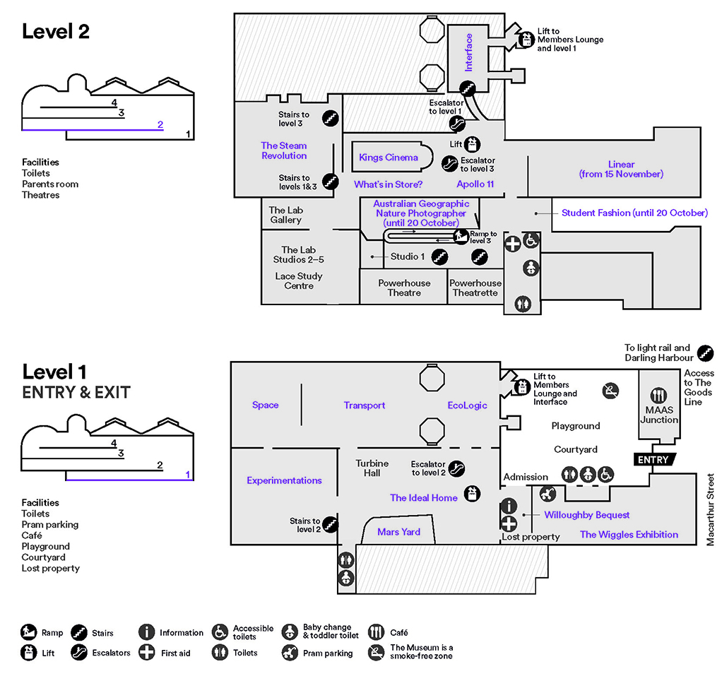 Map of levels 1 & 2 of the Powerhouse Museum. Click to enlarge.
