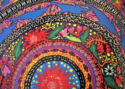 A close-up detail of a colourful Jenny Kee artwork