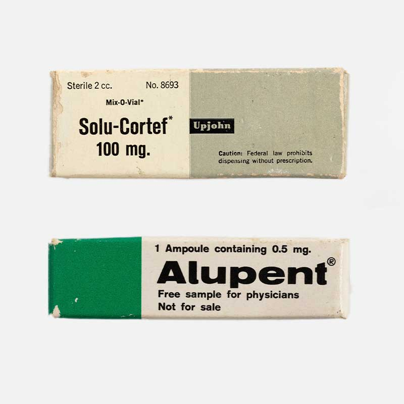Alupent and solu cortef medicine samples from the Powerhouse collection