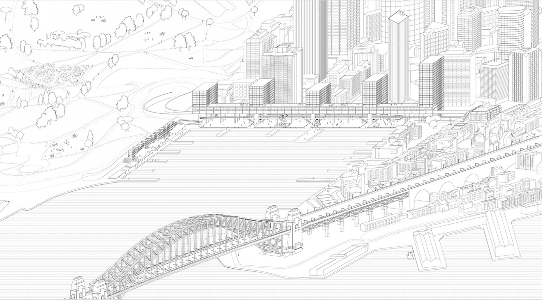 Image of a design of Housing for Circular Quay for Harvard University Thesis by Common Office. Image supplied by Common Office