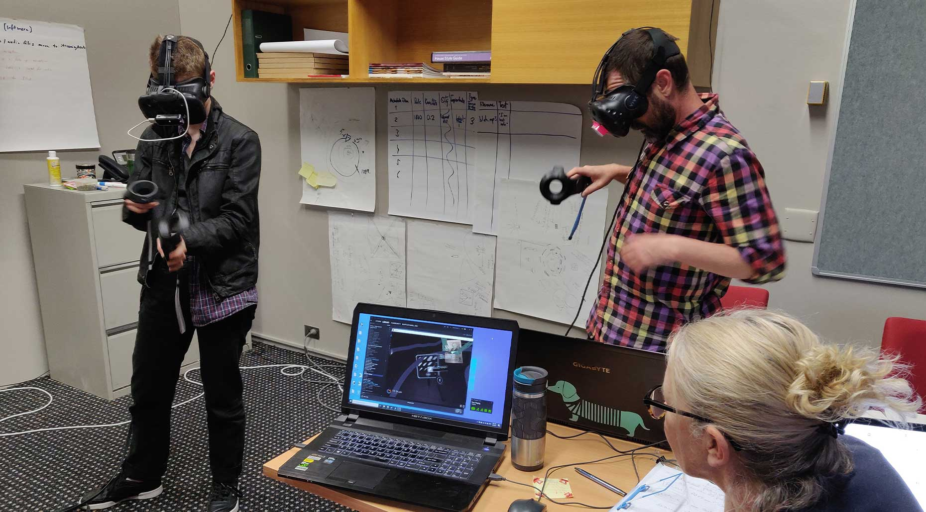 Research project prototype testing at MAAS, 2019, Dr Andrew Burrell, Dr Rachel Hendry and Kate Richards. Image courtesy of the research fellows.