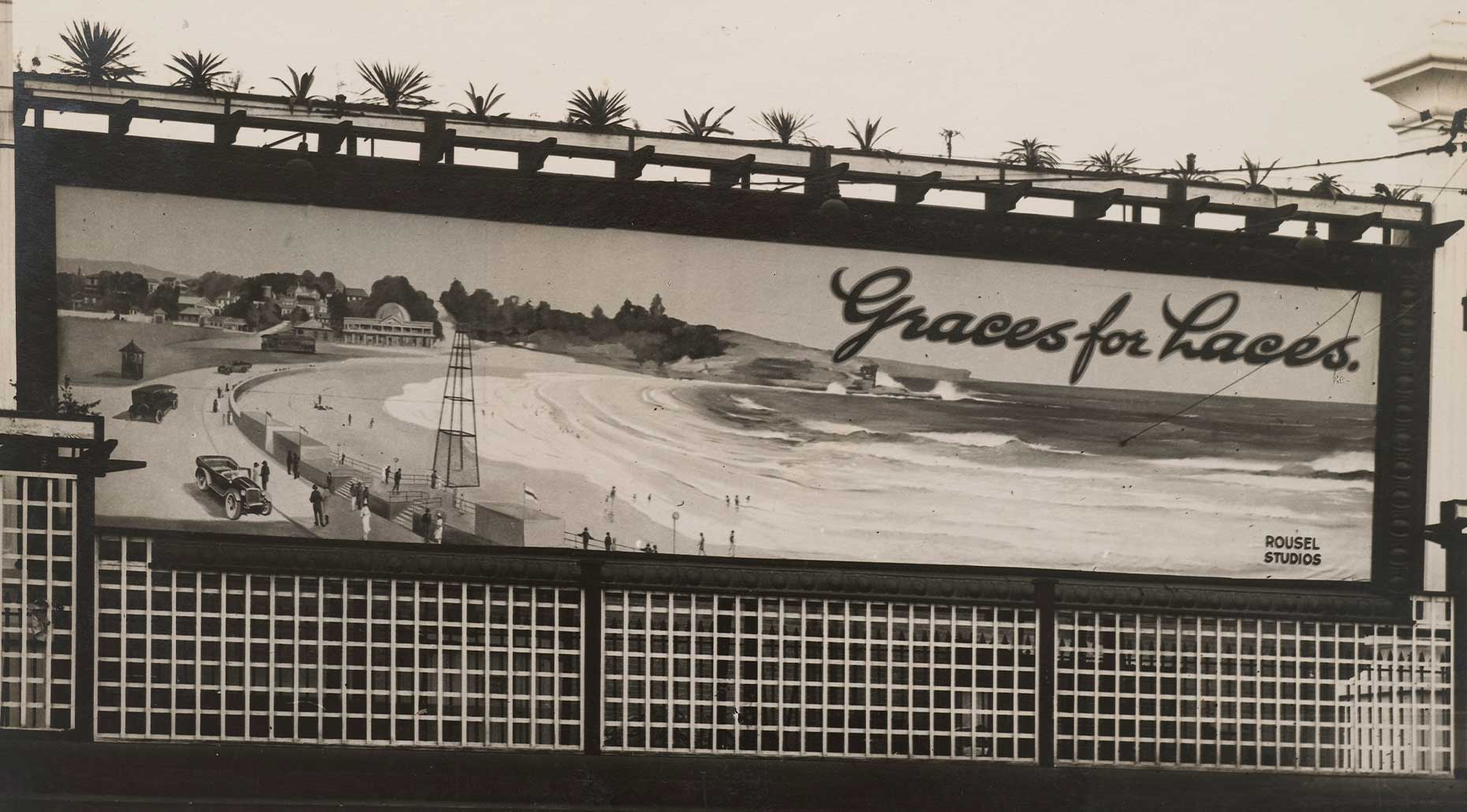 Photograph of billboard for Grace Bros, circa 1930, designed by Rousel Studios, NSW. Powerhouse Collection.