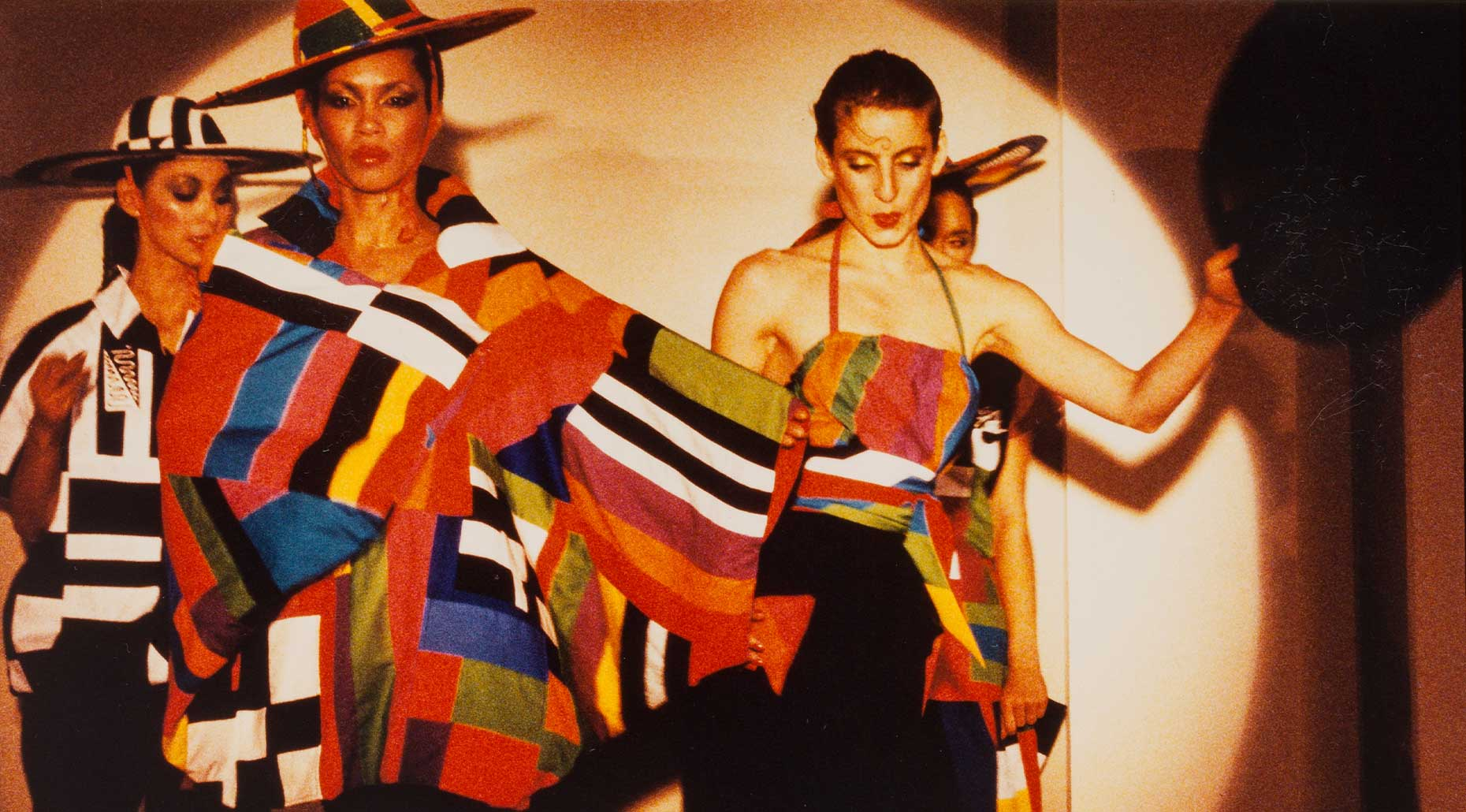 Runway shot of Patchy outfits from the Flamingo Follies show at the Queen Street Galleries, 1978, Linda Jackson, photographer unknown.