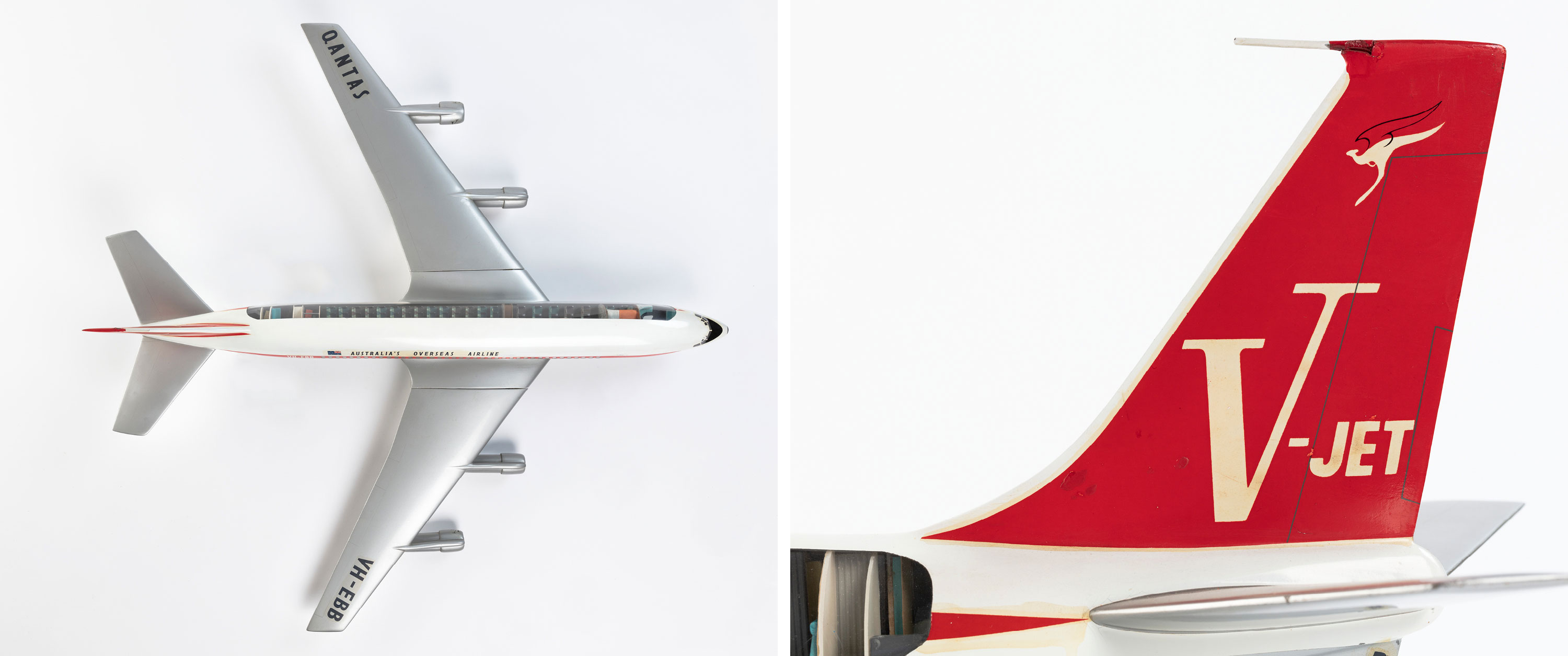 Model aircraft of Qantas Boeing 707 turbo-fan V-jet City of Sydney, Powerhouse Collection