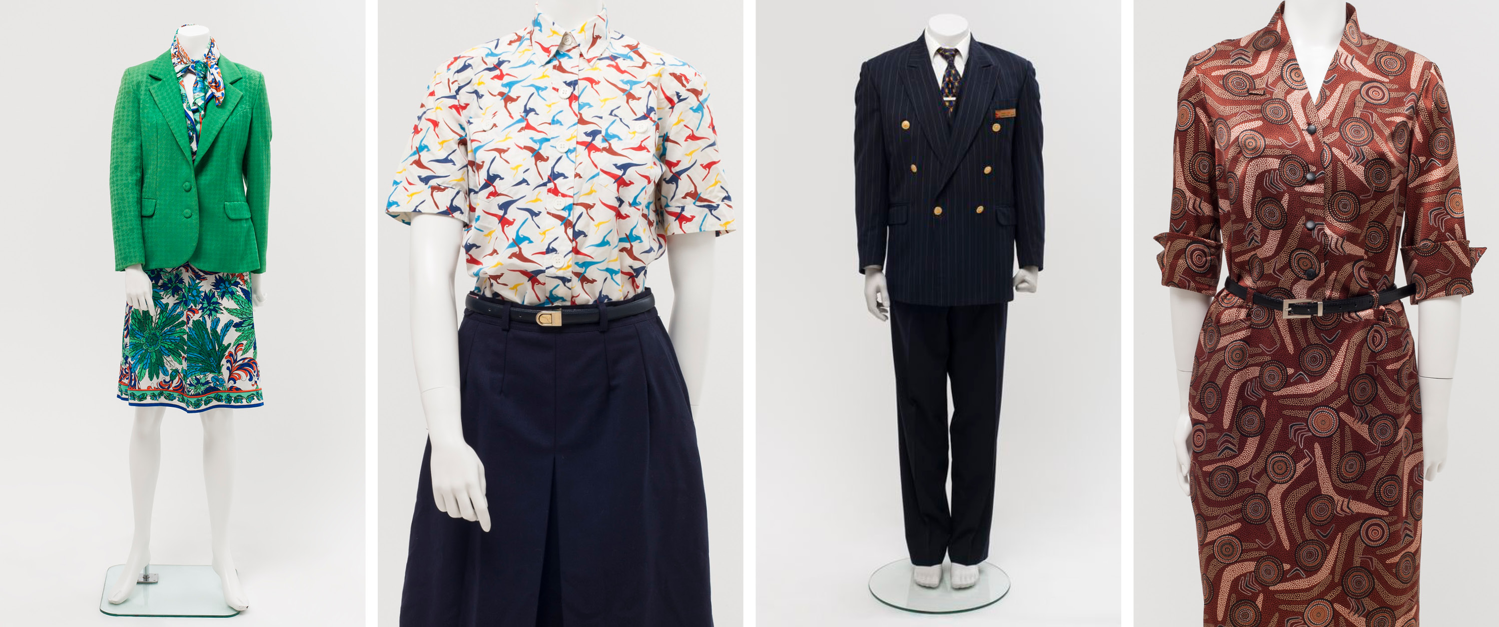 Four mannequins wearing QANTAS Staff Uniforms by Emilio Pucci 1974-87, Yves Saint Laurent 1987-94, George Gross and Harry Who 1994-2003, Peter Morrissey with Balarinji Design Agency 2003-16.