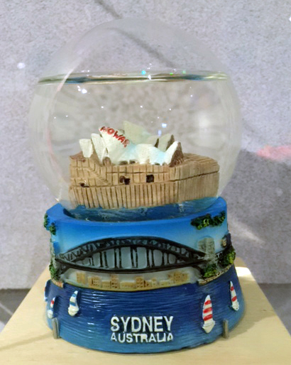 No War Sydney Opera House snow dome, maker unknown, Installation view, Disobedient Objects, MAAS, 2015