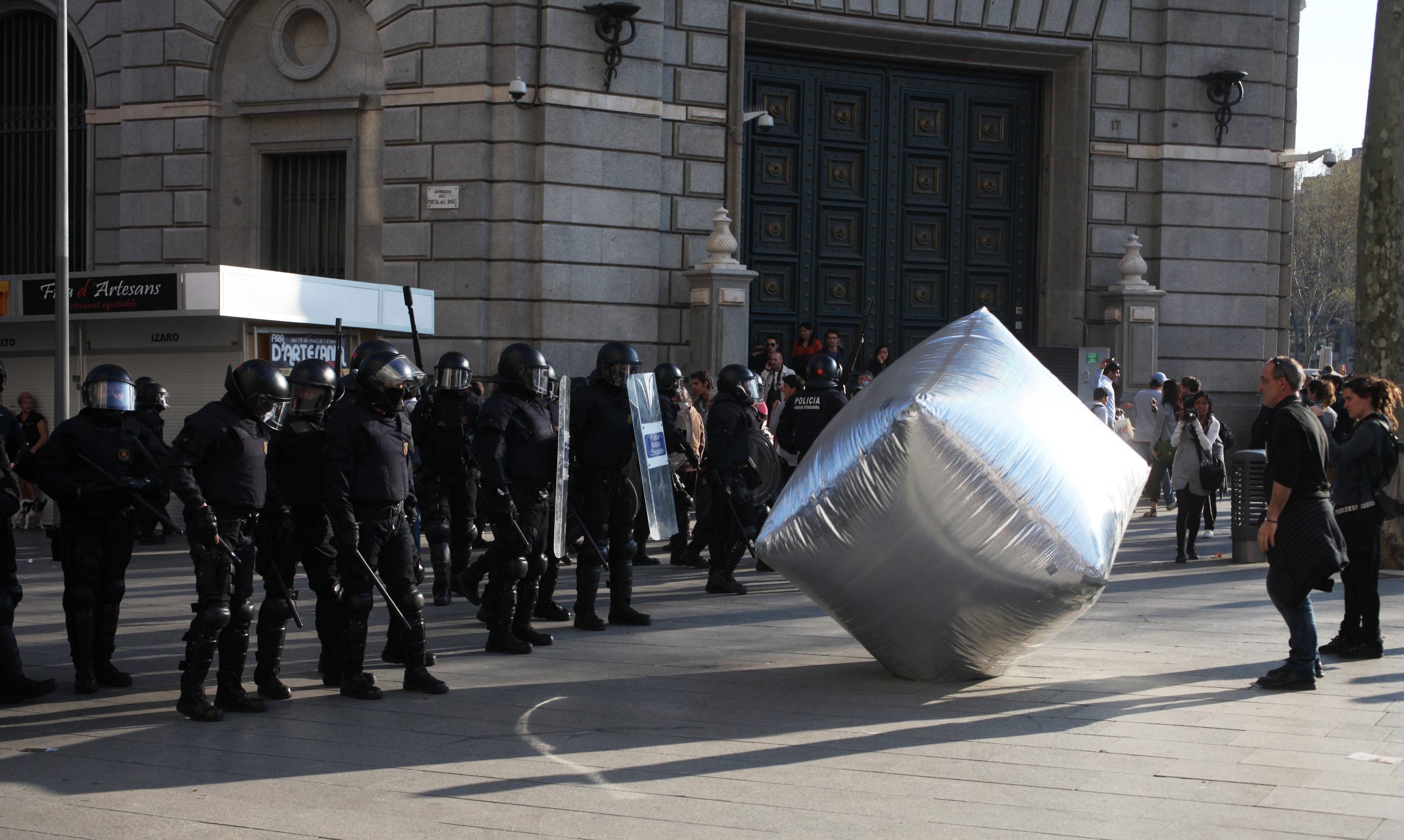 Inflatable cobblestone from Disobedient Objects, action of Eclectic Electric Collective in co-operation with Enmedio collective during the General Strike in Barcelona, 2012 © Oriana Eliçabe/Enmedio.info