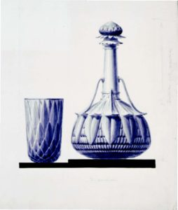 Design drawing of Protea cup and Waratah decanter by Lucien Henry