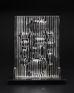 Erebus Op Art glass sculpture designed by Victor Vasarely, France, 1982.