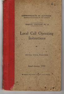 Local Call Operating Instructions book used by Joyce in the 1950s