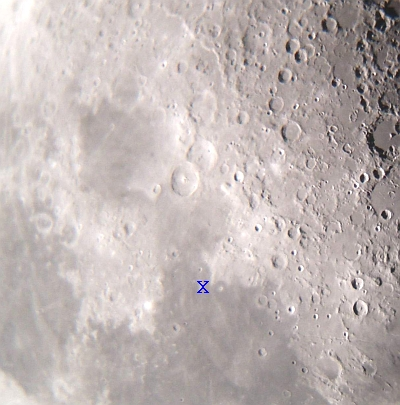 Close up of the Moon near the Sea of Tranquillity. The approximate location of the landing of Apollo 11 in July 1969 is marked with an X. Image Nick Lomb