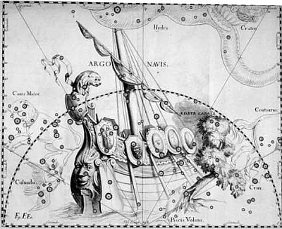 The constellation Argo Navis as drawn by Johannes Hevelius and published in 1690