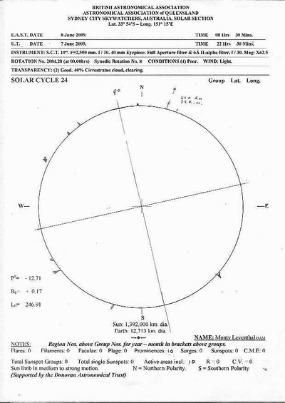 Diagram of the Sun on the morning of Monday 8 June 2009 (Australian time) drawn by Monty Leventhal