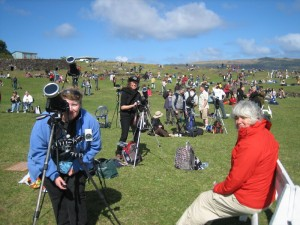 Melissa, Toner and Lilly on Rapa Nui preparing for the 2010 total solar eclipse