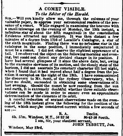 John Tebbutt's letter to the Sydney Morning Herald 25 May 1861