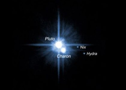 Pluto and its three moons