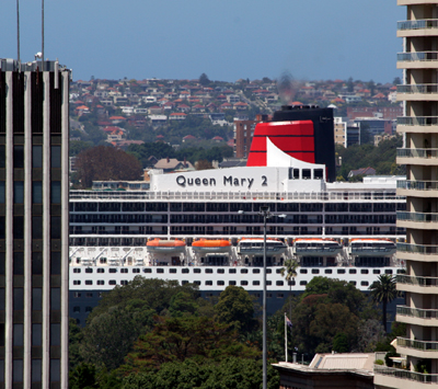 Queen Mary 2 as seen from Sydney Observatory image by Melissa Hulbert
