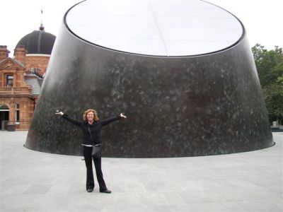 Toner Stevenson in front of the new Greenwich planetarium, image by Toner Stevenson