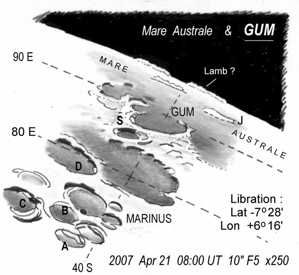 Mare Australe and crater Gum, drawn by Harry Roberts