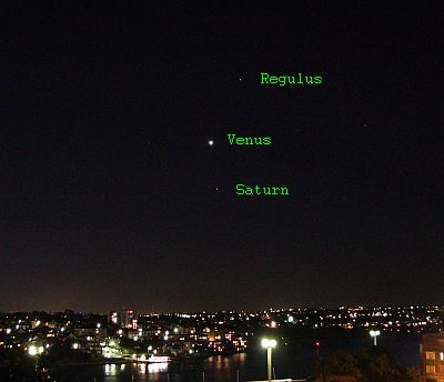 Venus with Saturn and Regulus_Nick Lomb