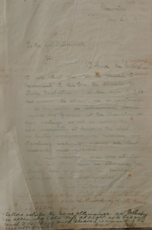 Letter by R P Sellors, 29 August 1891