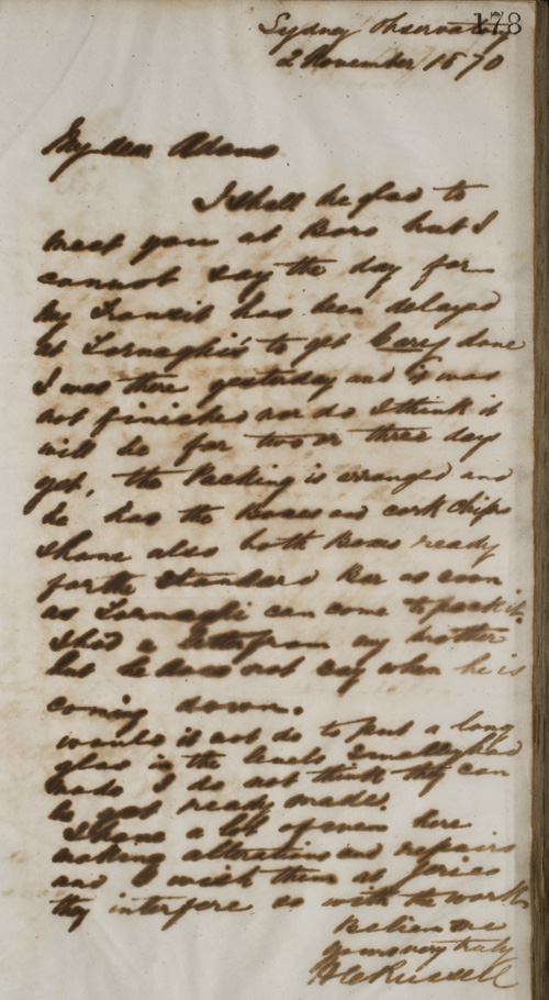 Letter by H C Russell, 2 November 1870