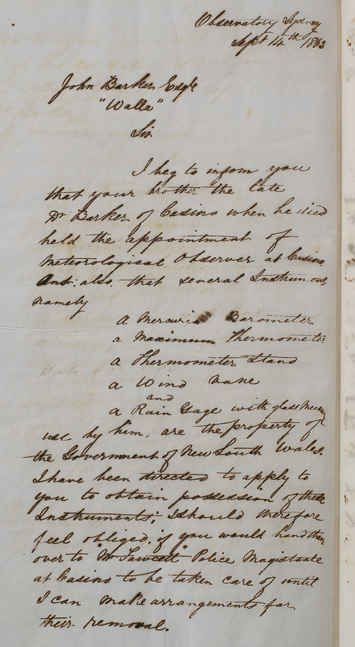 Letter by H C Russell, 14 September 1863