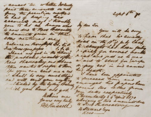 Letter by H C Russell 6 September 1870 – Observations