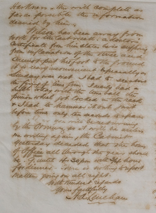 Letter by H A Lenehan to H C Russell, 30 August 1887