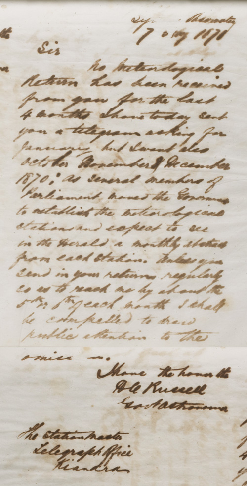 Letter by H C Russell, 7 February 1871