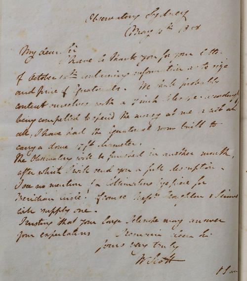 Letter by W Scott, 10 May 1858