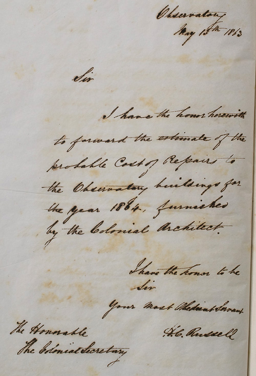 Letter by H C Russell, 13 May 1863