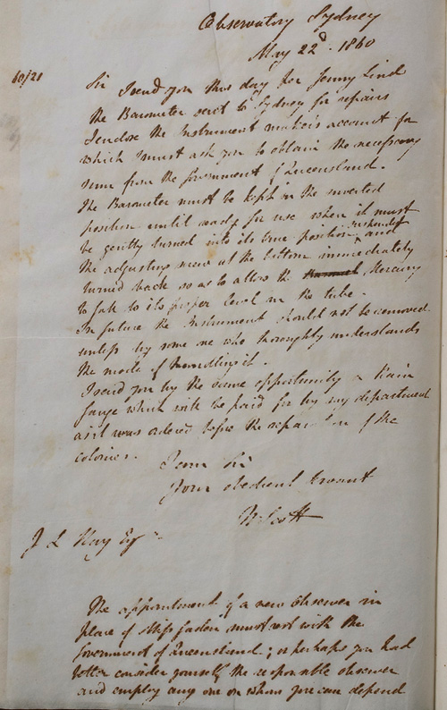 Letter by W Scott, 22 May 1860
