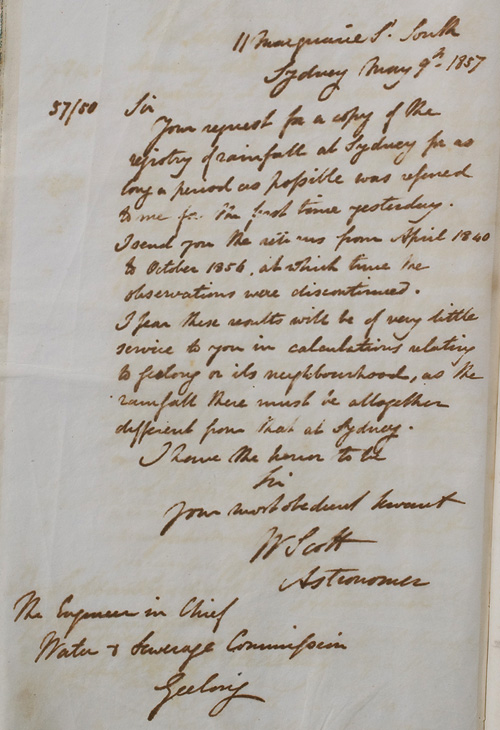 Letter by W Scott, 9 May 1857