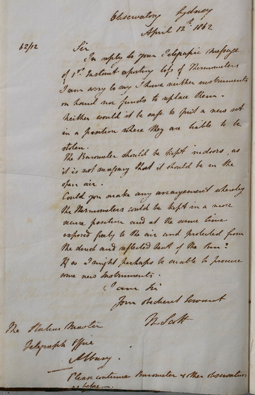 Letter by W Scott, 12 April 1862