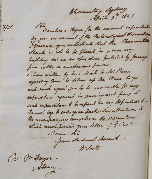 letter by w scott 9 april 1859 observations